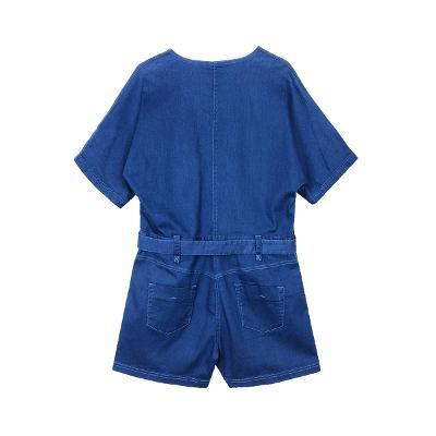 denim  belted jumpsuit